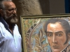0016 Cuban artist Ever Fonseca shows his painting of Bolviar, which  he donated to the museum.