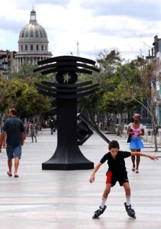 Prado Avenue which leads to the Capitolio Building hosts exhibitions of the 10th Havana Biennial
