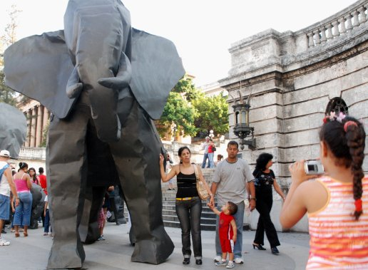 Inflatable metal elephant herd by artist Jose Emilio Fuentes