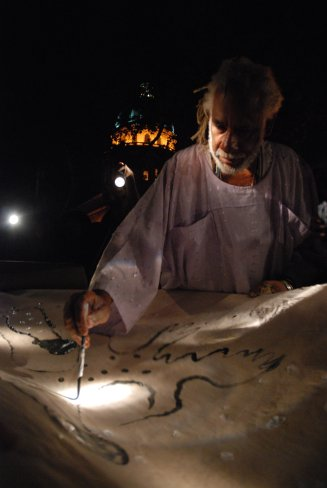 Cuban Artist Manuel Mendive during this year's Havana Biennale.