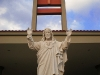 A statue of Jesus Christ welcomes all.