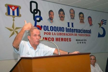 Holguin November 2006- Ricardo Alarcon, president of the Cuban National Assembly speaking at an international colloquium for the Cuban 5