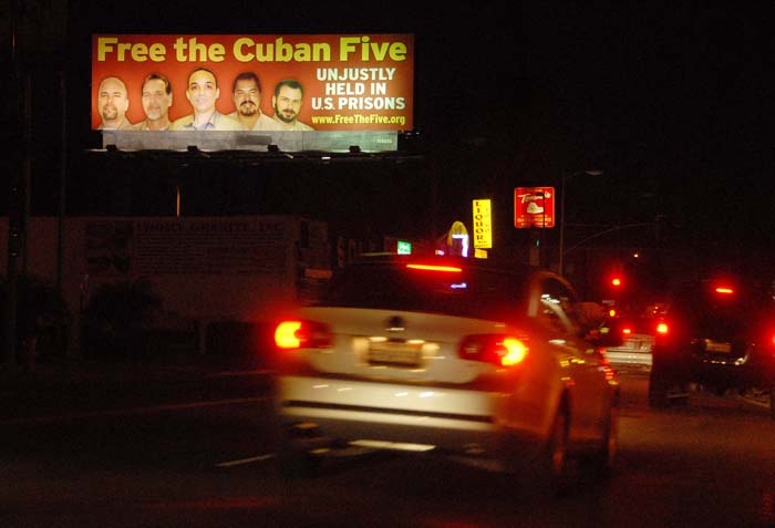 February 2008 - Billboard on Hollywood Blvd. in Los Angeles calling for the freedom of the Cuban 5
