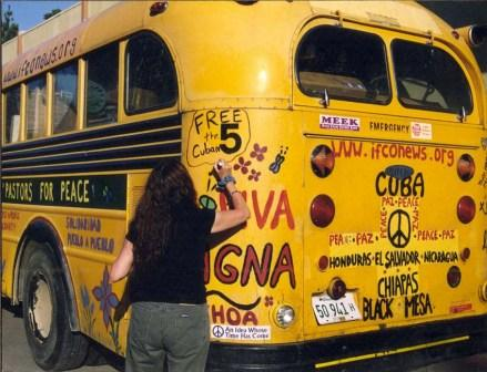 July 2003 - Pastors for Peace bus is prepared for crossing the border on its way to Cuba in defiance of the U.S. blockade