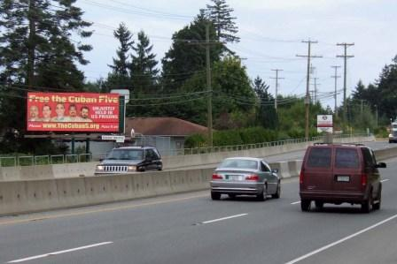 Billboard calling for the freedom of the Cuban 5 on the Trans Canadian Highway outside of Vancouver
