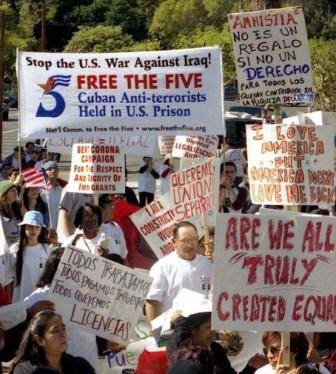 During 2006 large demonstrations for immigrant rights swept across the U.S. Here protest in Los Angeles that included support for the freedom of the Cuban 5