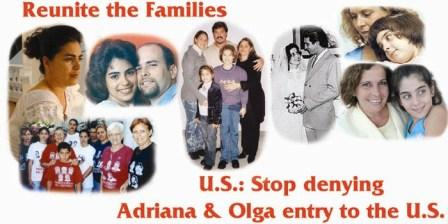 Banner used in demonstrations calling for the rights of family visits for the Cuban Five. Two of the wives, Adriana Perez and Olga Salanueva have not been allowed to visit their husband for over 10 years.