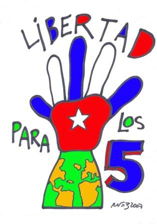 Cartoon in support of the Cuban 5 by well known Cuban cartoonist Rene de la Nuez