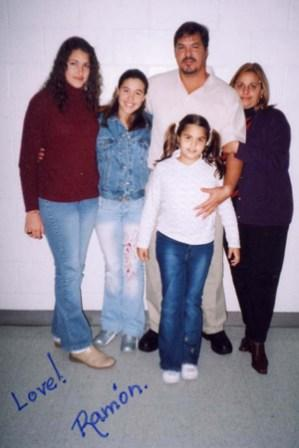 Ramon Labanino with his wife Elizabeth and their 3 daughters. Beaumont Federal Penitentiary Texas