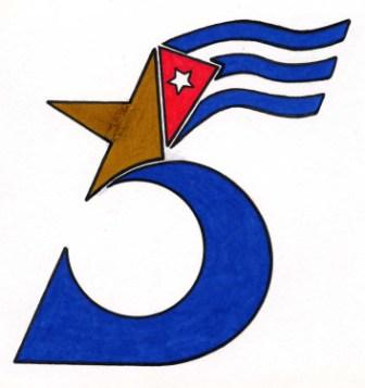 2002 - Scan of the original Cuban Five logo created by Gerardo Hernandez in Lompoc Federal Penitentiary. This drawing has become the symbol of the case worldwide. To see a description of how he did it go to: http://www.granma.cubaweb.cu/miami5/los_heroes/gerardo/0006.html
