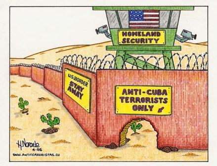 2005 - Cartoon by Gerardo Hernandez, drawing attention to the hypocrisy of U.S. immigration policy. This came out soon after admitted terrorist Luis Posada Carriles was snuck into the U.S.