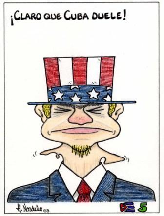 2003 - Of course Cuba Hurts, Gerardo Hernandez cartoon in response to Eduardo Galeanos article Cuba Hurts