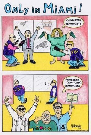 2004 - Gerardo Hernandezs cartoon showing the double standards for entering the U.S.