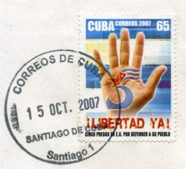Cancelled Cuban postage stamp honoring the Cuban 5