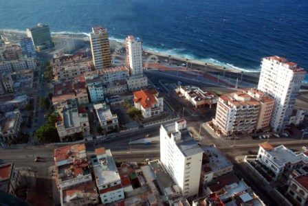 The eight-story building top-left is the US Interests Section in Havana.