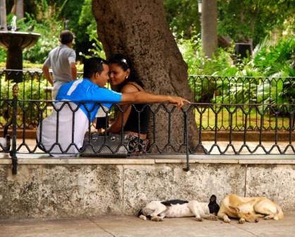 Couples in Old Havana.  Photo: Caridad