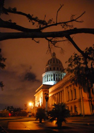 Cuba's capitol building by night