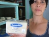 Sandra shows her Marsella Soap, the base of the handmade soaps at the shop.
