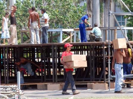 Preparations for the Sept. 20 Juanes mega concert in Havana.