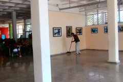 Setting up the exhibition.