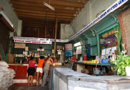A bodega store where Cubans buy rationed products.  Photo: Caridad