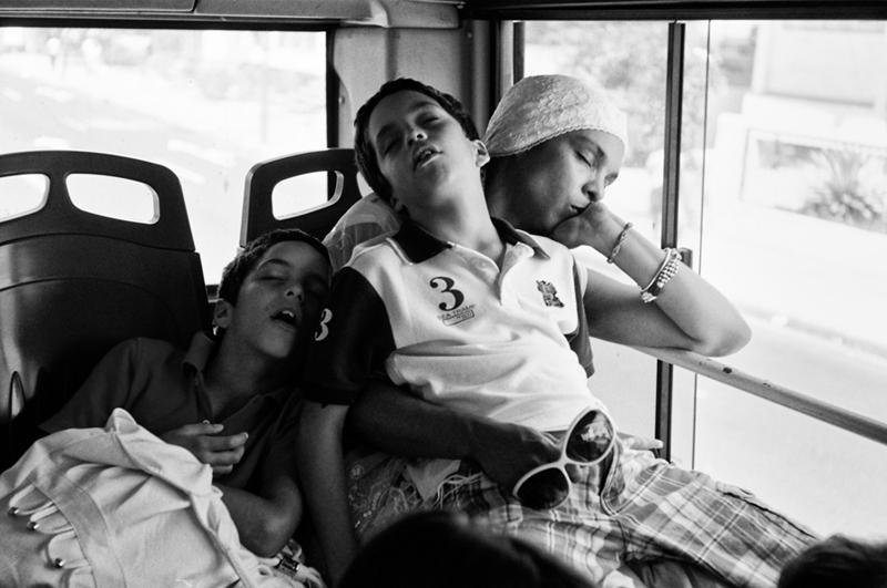 Napping on the bus.  Sergio Leyva