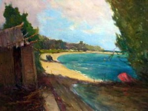 Seascape by Leopoldo Romañach. Oil on fabric 39 x 64 cm-