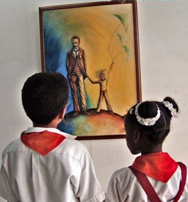 Cuban School Children and Jose Marti
