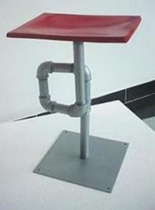 "Alberto J. Pérez. ""Banqueta NIPLE."" Stool made from water pipes and sheet metal"