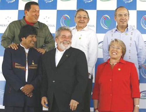 Hugo Chavez, Raul Castro, Felipe Calderon, upper row  Evo Morales, Luiz Ignacio Lula da Silva and Michelle Bachelet (photo from Juventud Rebelde newspaper)