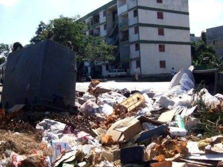 Reeking garbage, which produces maggots, flies and rats can be found in some Havana neighborhoods just a few yards away from people's homes.