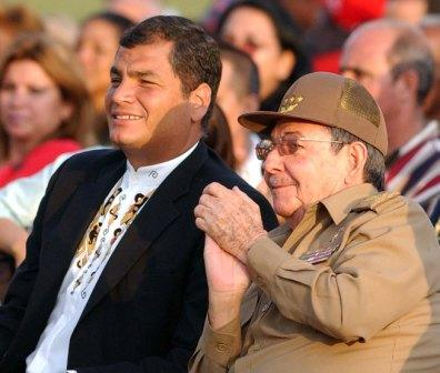 Presidents Rafael Correa and Raul Castro