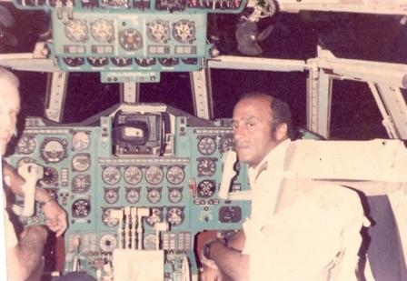 Gaston Sariol, right, back in his piloting days