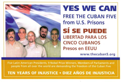 Thousands of these postcards are now being mailed from around the world to Obama, Attorney General Eric Holder and elected U.S. officials demanding that the Cuban Five be freed.