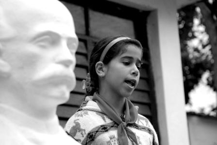 Busts of Jose Marti are in front of all Cuban schools. Photo: Xanti Revueltas