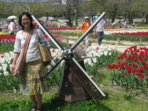 Sachiko in the park of the tulips.