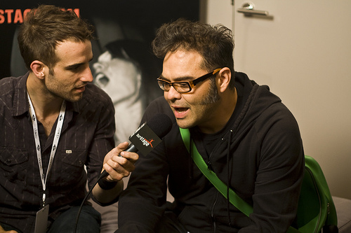 Jose Rangel of the rock band Café Tacuba, right, photo:Oscalito