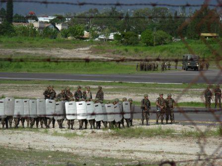 Honduran capital airport shut down by the military. Photo: Luis Miranda