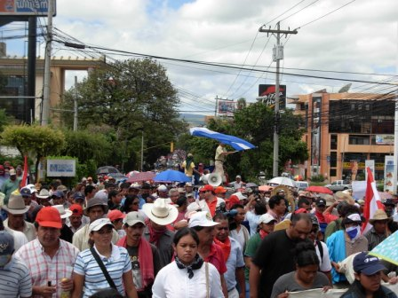 Some 10-15,000 marched in Tegucigalpa on Tuesday.