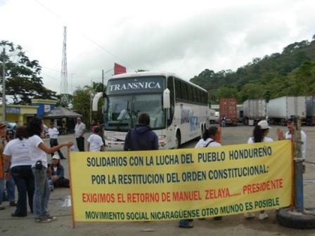 Social activists blocked the Nicaraguan-Honduran border.