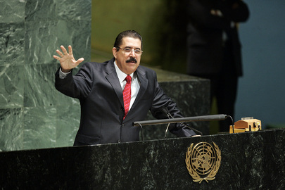 Honduran President Manuel Zelaya states his case at the UN where he received unanimous support for his return to office. UN Photo by Jenny Rockett
