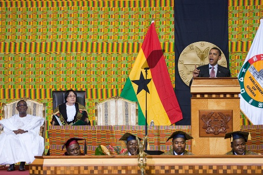 President Barack Obama addresses the Ghanaian Parliament in Accra, Ghana July 11, 2009.  Official White House Photo by Chuck Kennedy