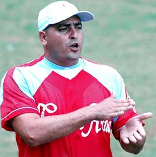 Cuba's manager Roger Machado in the uniform of his National League team Ciego de Avila.