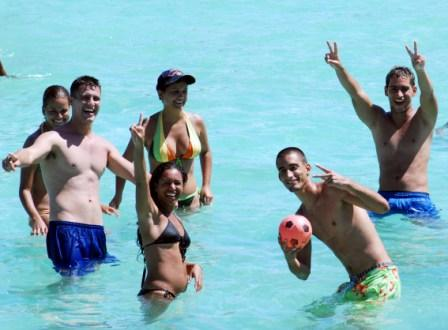 Cubans enjoying a day at the beach.