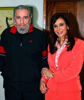 Fidel Castro with Argentine President Cristina Fernandez in Jan. 2009.