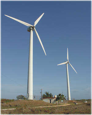 Wind farm on the isle of Turiguano situated off the central northern coast of Cuba