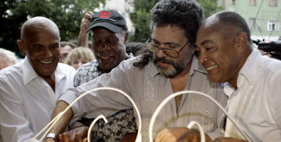 Belafonte, left, Glover and Cuban Culture Minister Abel Prieto at the opening of the Itinerant Caribbean Film showing in Havana.  Photo: Franklin Reyes, Juventud Rebelde newspaper.