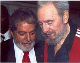 Brazil's Lula on a visit to Havana with Fidel Castro.