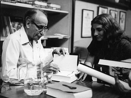 Cuban Secretary of State Raul Roa signs a copy of his book for Margaret.  Moderna Poesia bookstore, Havana 1977. Photo: Macias