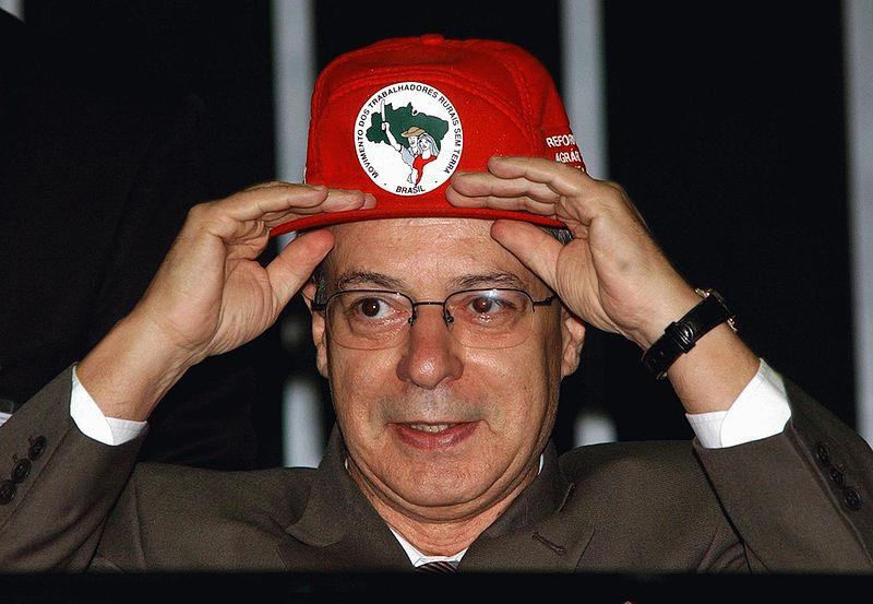 Frei Betto with a Brazilian MST Landless Workers Cap.  Photo: Wikipedia Commons